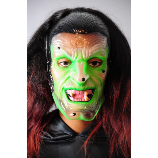 Groene heksen masker doorzichtig -
