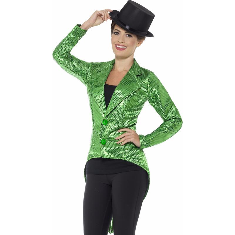 Groene pailletten circus jas voor dames 44-46 (L) Groen