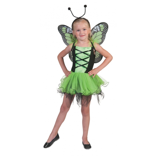Groene vlinder feeen jurkje voor meisjes 3-5 jaar Groen