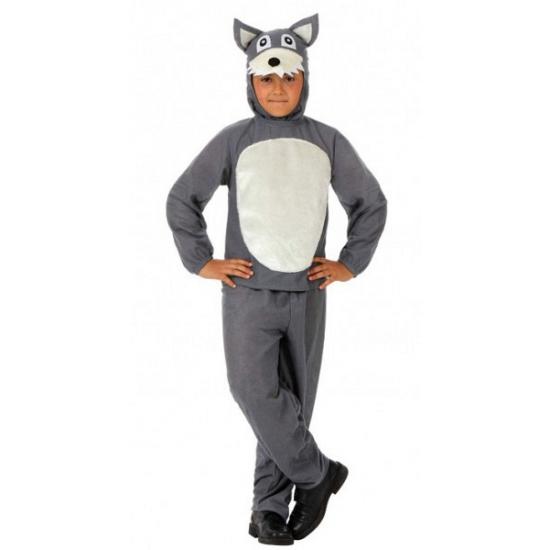 Grote boze wolf kostuum voor kinderen 128 Grijs