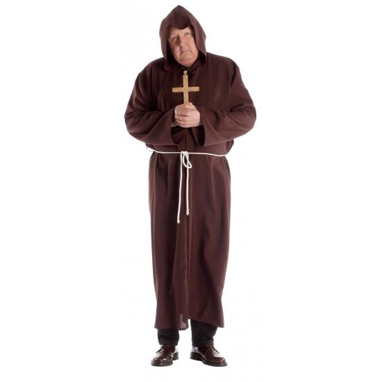 Grote maat monnik kostuum voor heren 58 (3XL) Bruin