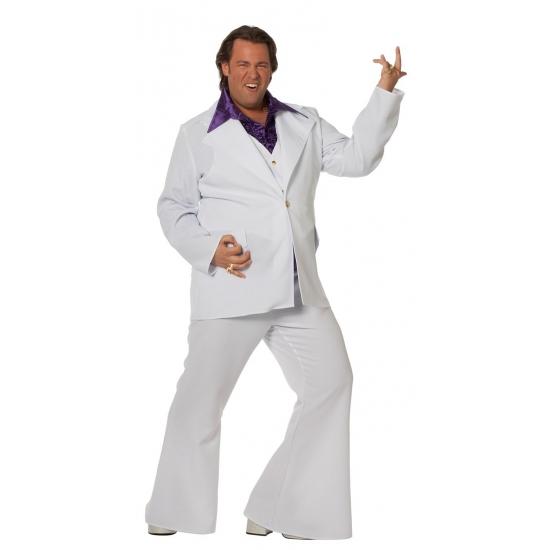 Grote maat wit Travolta kostuum voor heren 58 (3XL) Multi