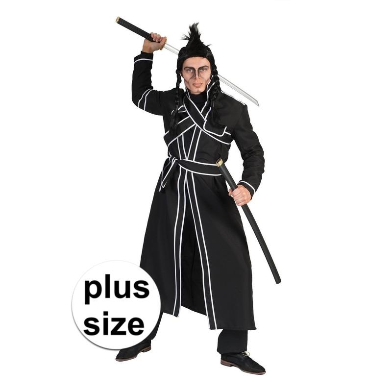 Grote maat zwart samurai verkleed kostuum voor heren 56-58 (2XL/3XL) Zwart