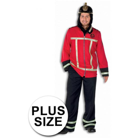 Grote maten brandweer kostuum voor volwassenen 56 (2XL) Rood