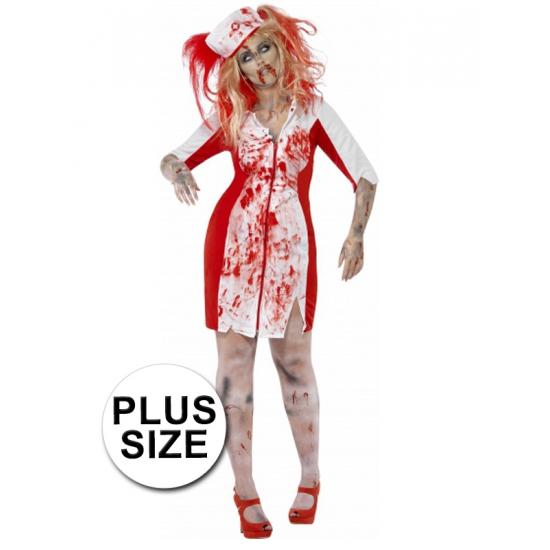 Grote maten Halloween Zombie zuster jurk dames 56-58 (3XL) Multi