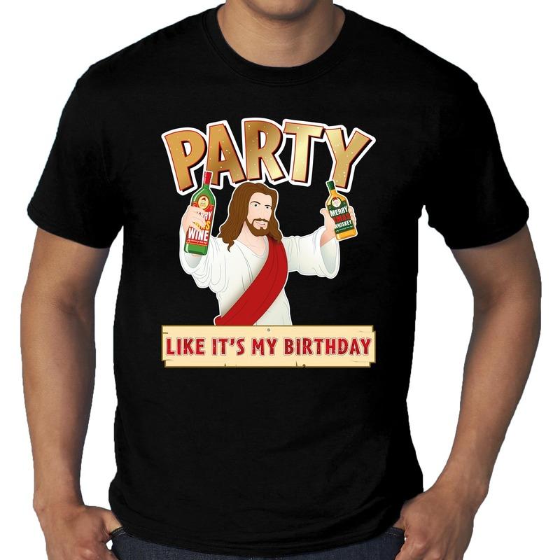 Grote maten kerstshirt / kerstkleding zwart met party Jezus voor heren 4XL Zwart
