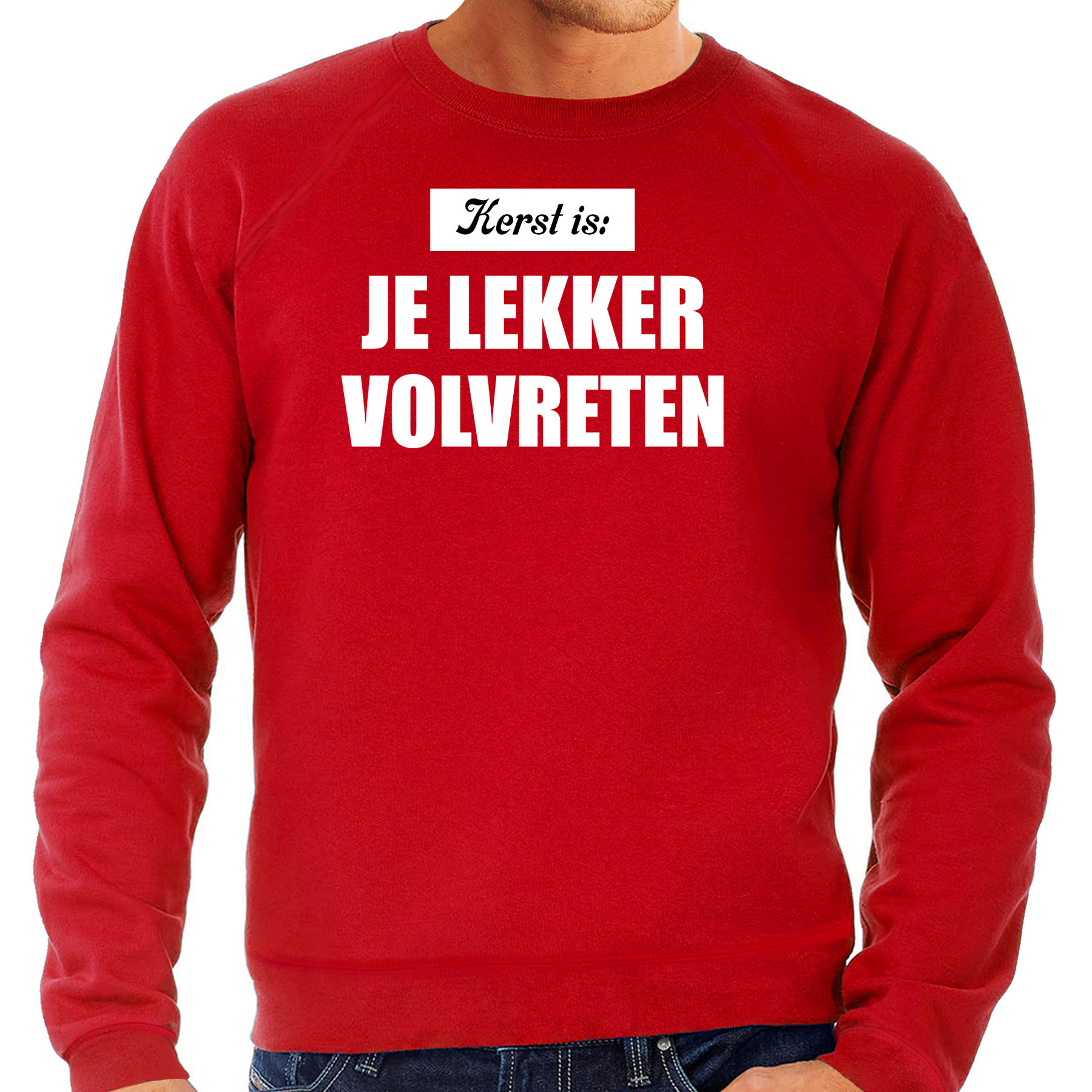 Grote maten rode Kerstsweater - Kerstkleding Kerst is: je lekker volvreten voor heren 3XL (58) -