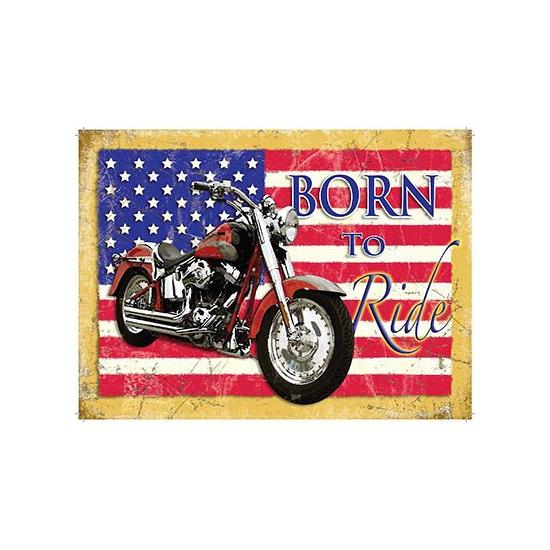 Grote muurplaat Born to Ride 30x40cm -