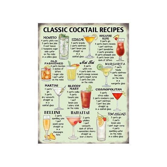 Grote muurplaat Cocktail Recipes 30x40cm Multi