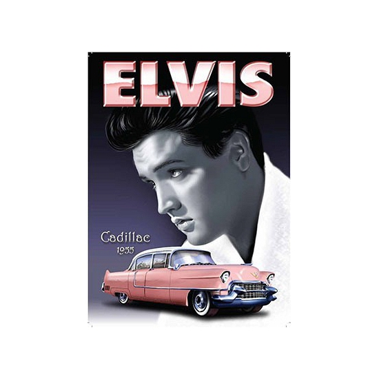 Grote muurplaat Elvis Cadillac 30x40cm -