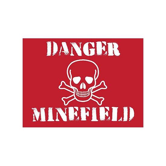 Grote muurplaat Minefield 30x40cm - Metalen wandbordjes