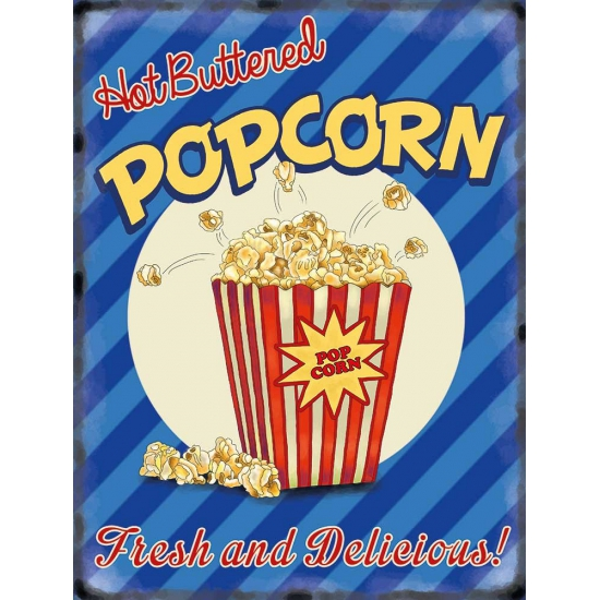 Grote muurplaat Popcorn 30x40cm - Metalen wandbordjes