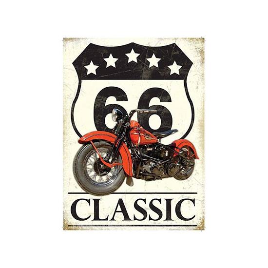 Grote muurplaat Route 66 Classic 30x40cm Multi