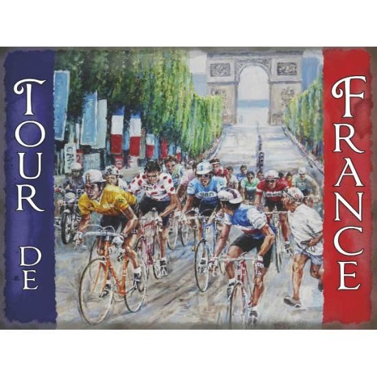 Grote muurplaat Tour de France 30x40cm Multi
