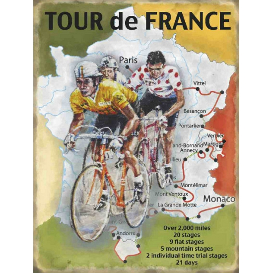 Grote muurplaat Tour de France route 30x40cm Multi