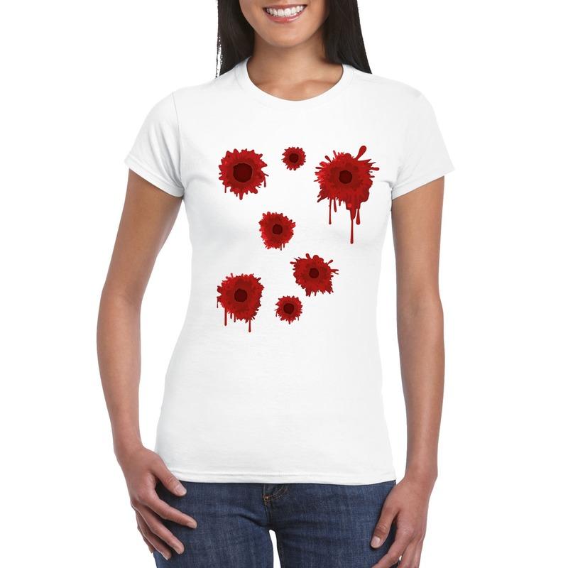 Halloween/ Gangster schotwonden shirt wit dames XS Wit