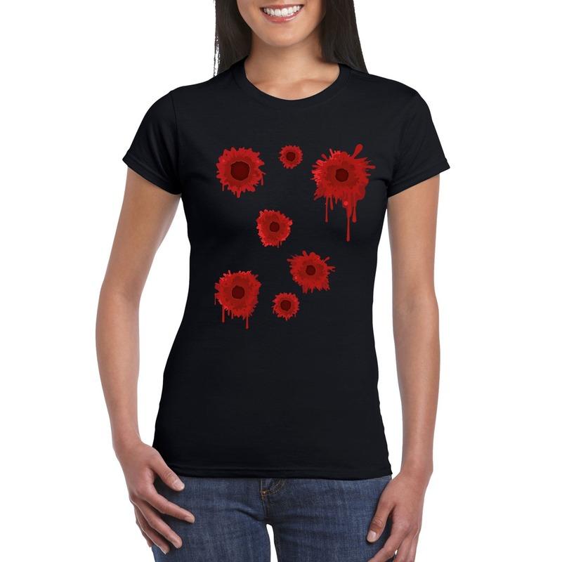 Halloween/ Gangster schotwonden shirt zwart dames L Zwart