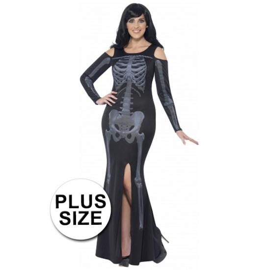 Halloween Skelet jurk voor grote dames 56-58 (3XL) Multi