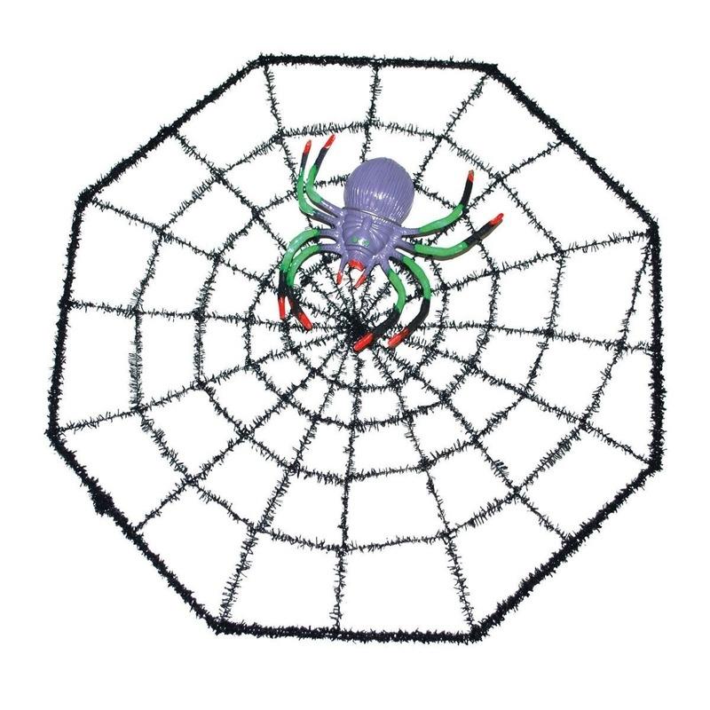 Halloween spinnenweb met spin 29 x 29 cm Zwart