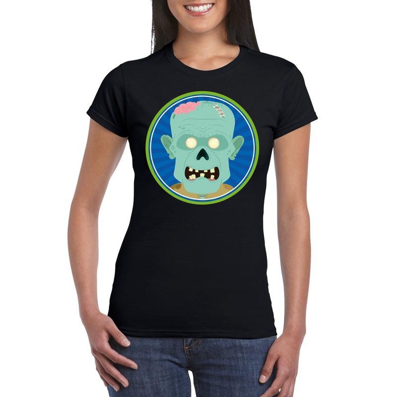 Halloween zombie shirt zwart dames 2XL Zwart