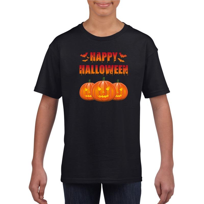 Happy Halloween t-shirt zwart voor jongens en meisjes M (134-140) Zwart