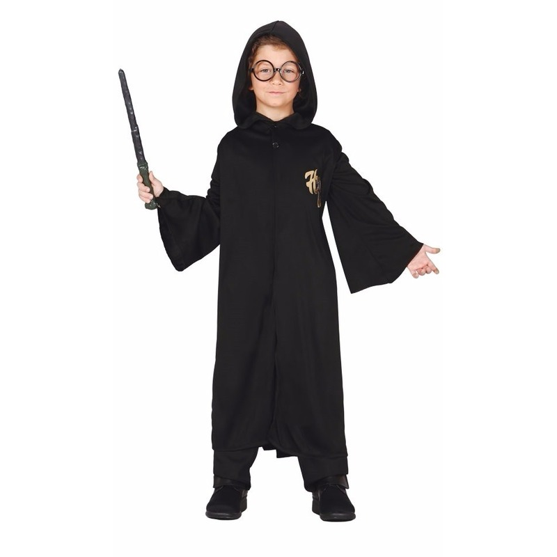 Harry cape met capuchon voor kids 10-12 jaar (140-152) Zwart