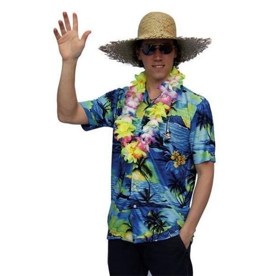 Hawaii overhemd voor heren 58 (2XL) Blauw