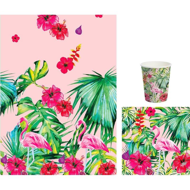 Hawaii tafeldecoratie set servetten/bekers en tafelkleed roze/groen - Feestpakketten