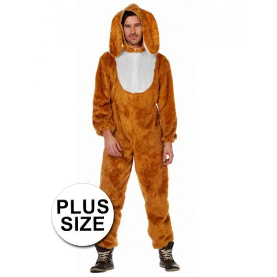 Hazen verkleedkleding grote maat 58 (3XL) Bruin