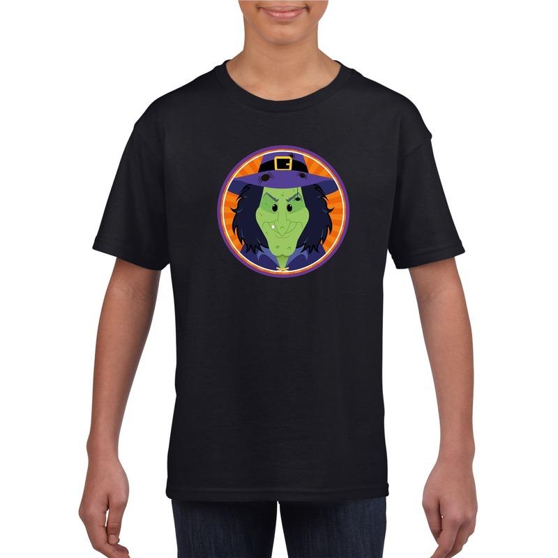 Heksen halloween t-shirt zwart voor jongens en meisjes XL (158-164) Zwart