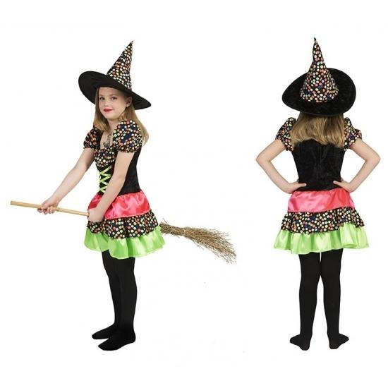 Heksen jurk met hoed voor meisjes 128 Multi