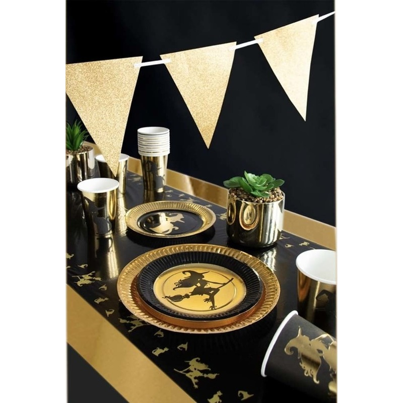 Heksen/katten print feestje versiering pakket 2-8 personen -