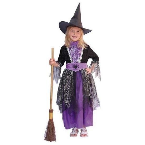 Heksen kinder kostuums zwart/paars 140 Multi