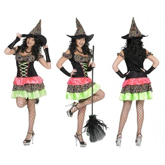 Heksenjurk met hoed voor dames 36-38 (S/M) Multi