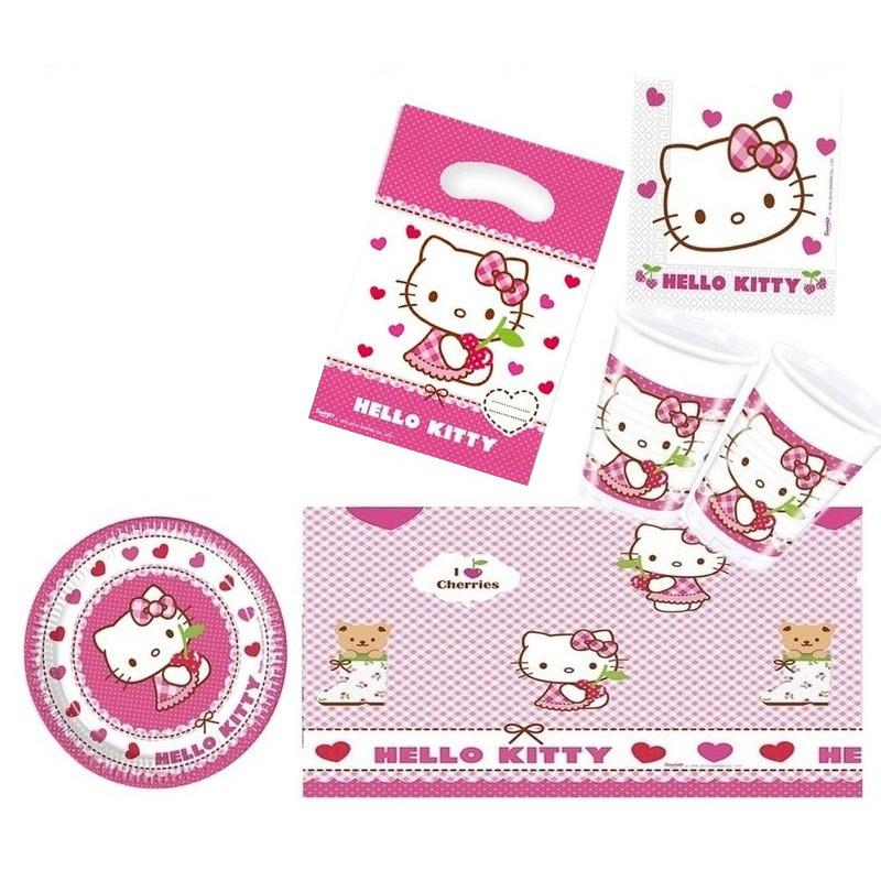 Hello Kitty feestje versiering pakket 7-12 personen Roze