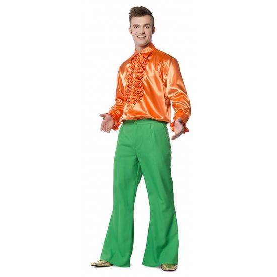 Heren broek in de kleur groen wijd uitlopend 56 (XL) Groen