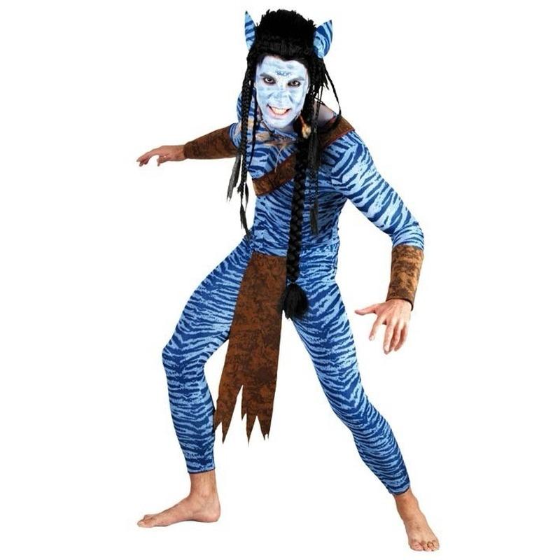 Heren carnavals pak Blauwe jungle strijder L/XL Blauw