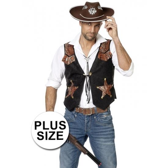 Heren cowboy vest grote maten 60 (4XL) Zwart