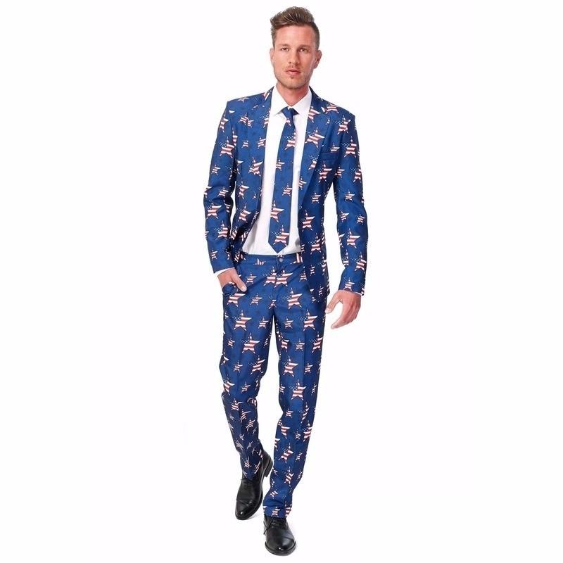Heren kostuum met Amerikaanse vlag print L (52-54) Blauw