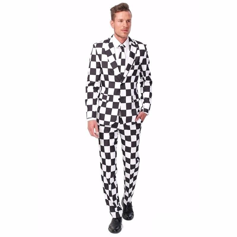 Heren kostuum met Zwart wit geblokt print M (48-50) Multi