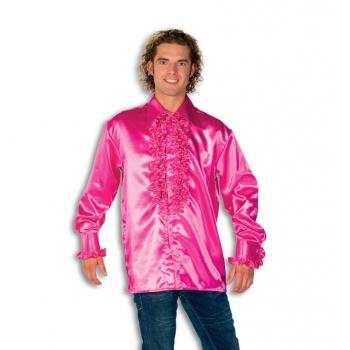 Heren rouche overhemd roze S Roze
