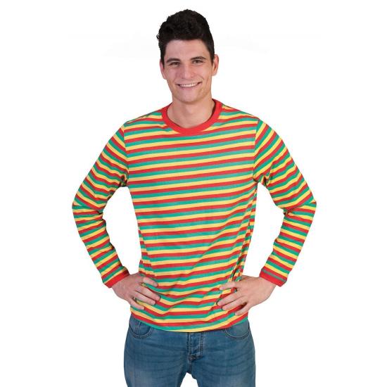 Heren shirt Dorus gestreept in carnavalskleuren XL Multi