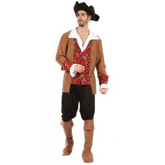 Heren verkleedkleding piraat bruin/rood One size Multi