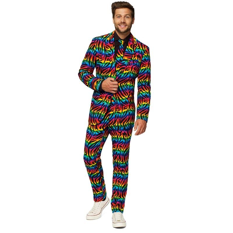 Heren verkleedkostuum Wild Rainbow business suit 46 (S) Multi