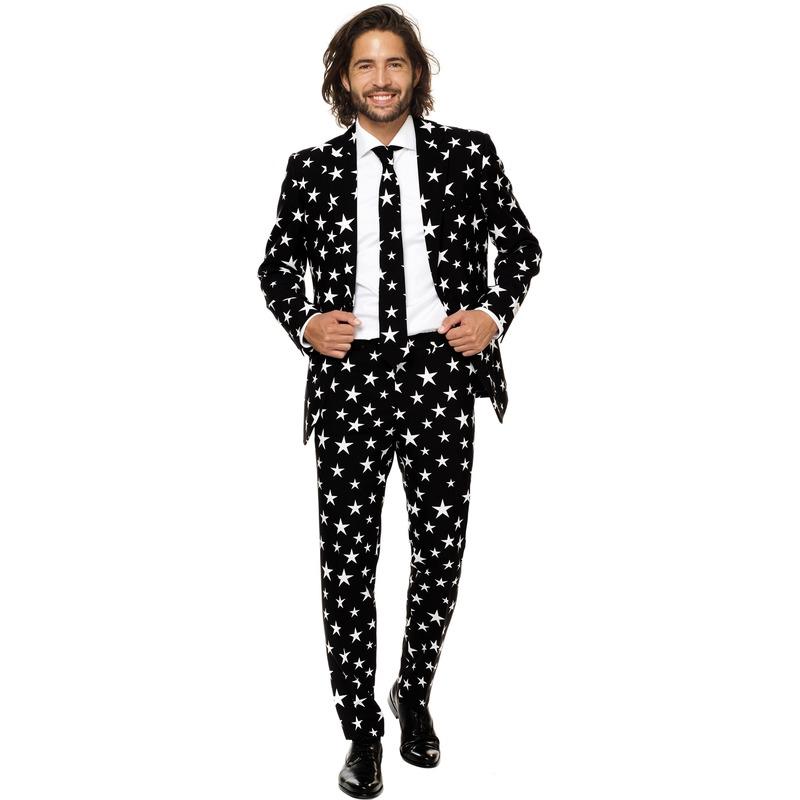 Heren verkleedkostuum zwart met witte sterren print business suit 48 (M) Zwart