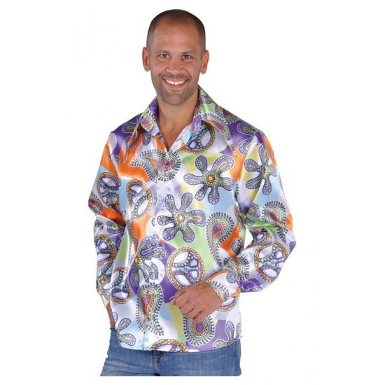 Hippie carnavals blouses heren Cool 48-50 (S) Multi