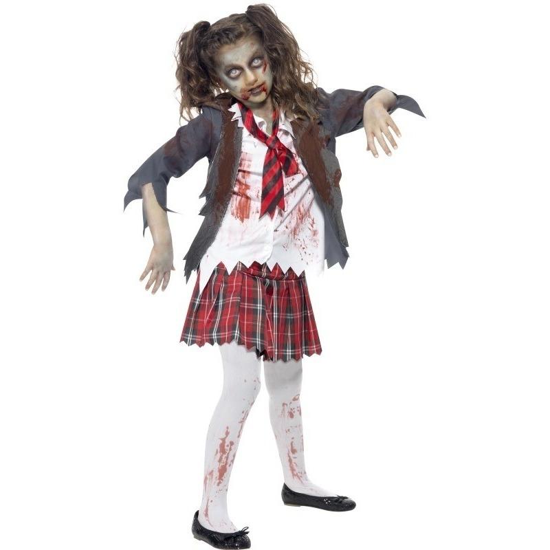 Horror schoolmeisje verkleedkleding voor meiden 145-158 (10-12 jaar) Multi