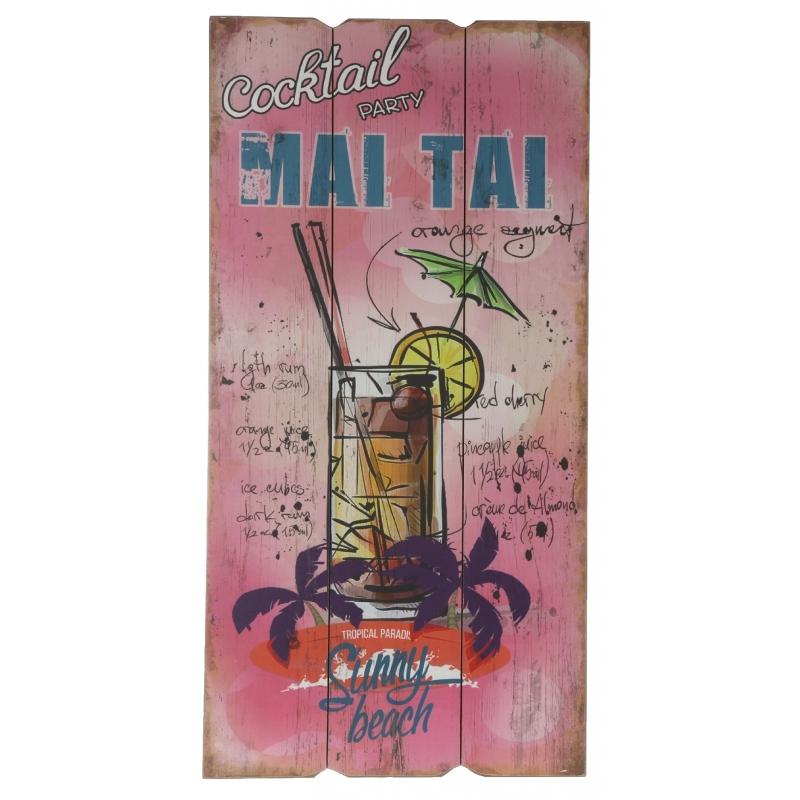 Houten muurplaatje Mai Tai cocktails Multi