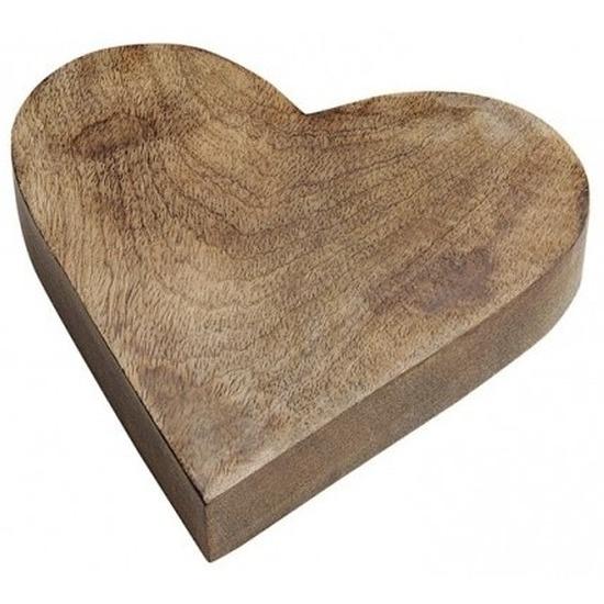 Houten serveerplank/dienblad hartvorm 20 cm Bruin