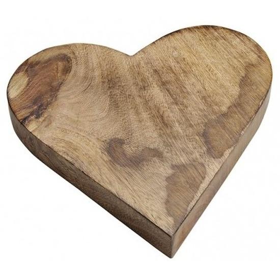 Houten serveerplank/dienblad hartvorm 26 cm Bruin